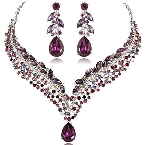 Purple Crystal Necklace Earring (EVER FAITH Women's Austrian Crystal Decorative Leaf Teardrop Necklace Earrings Set Purple Silver-Tone)