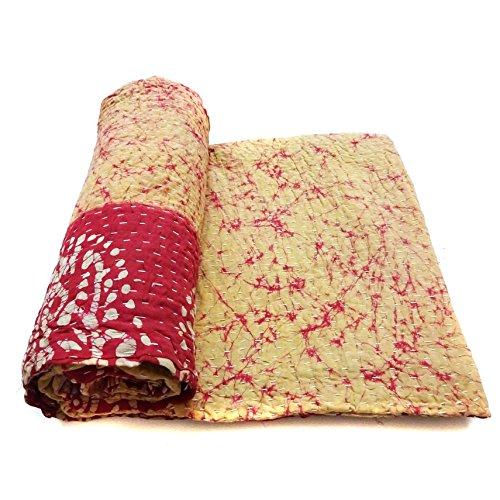 Vintage Kantha Quilt Traditional Indian Cotton Art Decor Blanket Bedding Ralli