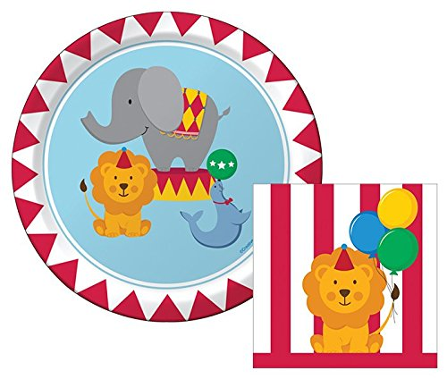 Creative Converting Circus Time Happy Birthday Dessert Napkins & Plates Party Kit for (Streamers Dessert Plates)