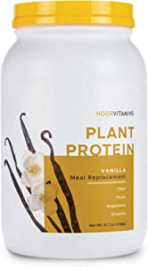 NoorVitamins Pure Plant Protein Powder Meal Replacement w/Organic Superfoods, Vitamins & Fiber. Non-GMO, Dairy Free, Gluten Free, Halal Vegan Protein - Natural Vanilla Flavor (30 Servings) 2 Lbs