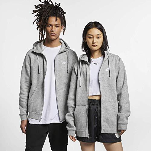 Men's Nike Sportswear Club Full Zip-Up Hoodie, Fleece Hoodie for Men with Paneled Hood, Dark Grey Heather/Dark Grey Heather/White, M ()