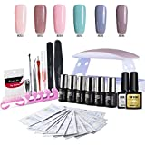 Modelones Gel Nail Polish Starter Kit - 6 Gels Base Top Coat 6W Curing Lamp Portable Kit for Travel