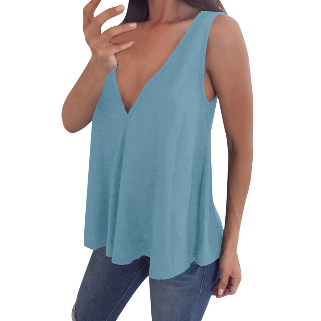 OSTELY Tops for Women Plus Size Casual V Neck Solid Sleeveless T-Shirt Tank Blouse(Light Blue,XL)
