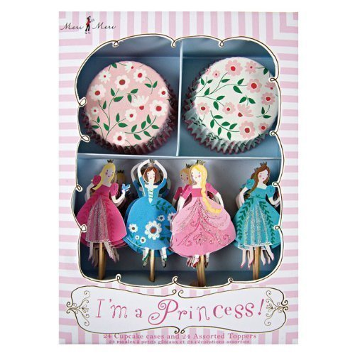 I'm a Princess Cupcake Wrappers Picks Kit 24 Toppers Meri Meri Tangled Braid
