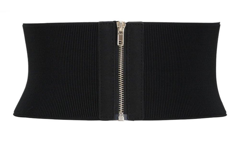 Aecibzo Womens Wide Elastic Stretch Waist Belt Corset Cincher Belt Trimmer Waistband (Fit waist 28.7''-37.4'', Black)