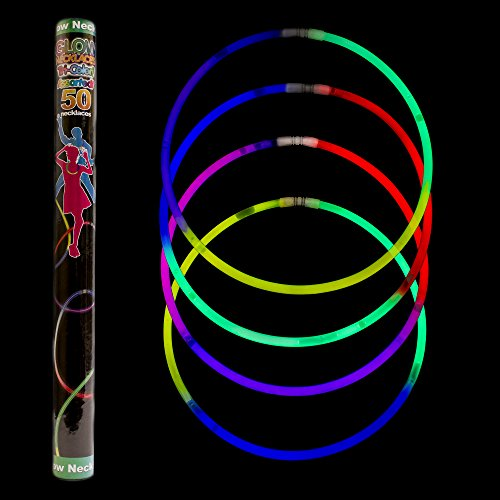 Fun Central I39 22Inch Premium Glow Necklaces,Glowsticks for Kids,Glow in the Dark Necklace-for neon/glow in the dark/rave/Christmas/Halloween parties,New Year's-Assorted Tricolor Mix (22 Premium Glow Necklaces)