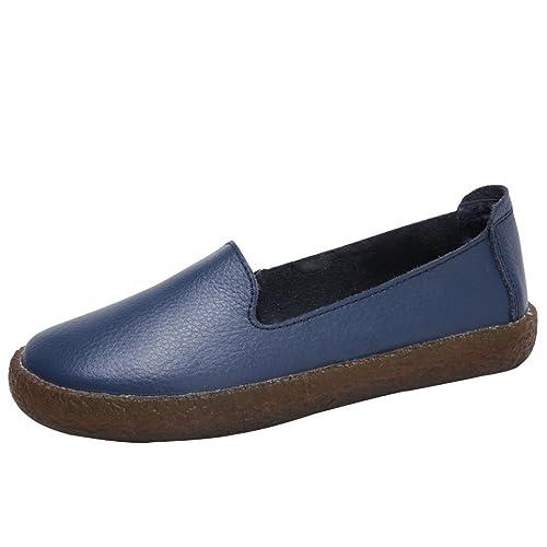 Zapatos de Vestir para Mujer Otoño 2018 PAOLIAN Zapatillas de Cuero Planos Suela Blanda Calzado Dama Fiesta Cómodos Casual Zapatos Retro Calzado de Trabajo ...