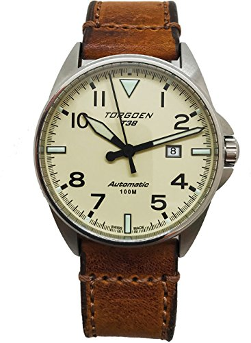 Torgoen T38 Cream Automatic Watch | 44mm - Vintage Leather Strap