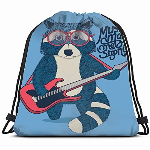 Cool Raccoon Guitarist Playing Guitar Abstract Band Animals Wildlife Drawstring Bag Backpack Gym Dance Bag Reversible Flip Sequin Bling Backpack For Hiking Beach Travel Bags
