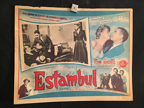 Istanbul 1956 Original Vintage Mexican Lobby Card Movie Poster, Errol Flynn, Cornell Borchers
