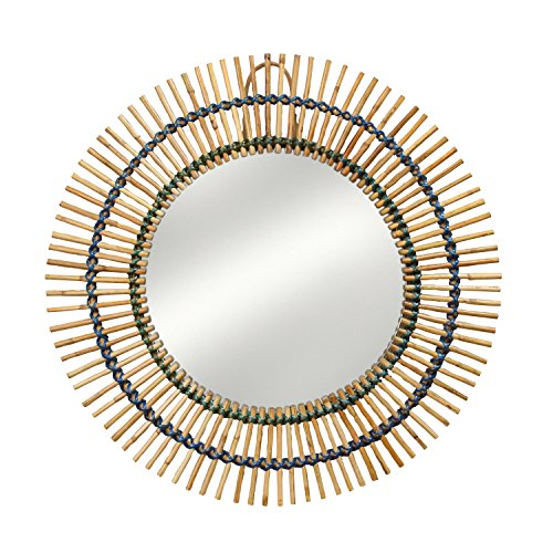 Ten Thousand Villages Natural Round Bamboo And Rattan Mirror 'Bamboo Reflections Mirror' For Sale