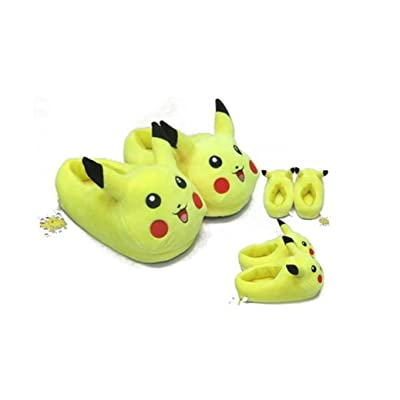 E.a@Market Anime Pikachu Pokemon Winter Warm Home Floor Slippers Yellow | Slippers