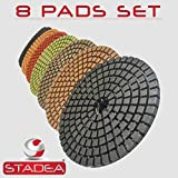 STADEA Premium Grade Wet 4'' Diamond Polishing Pads 8 Pcs Set For GRANITE MARBLE STONE Polish