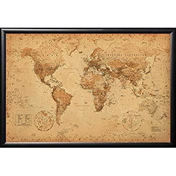 FRAMED Perfect For Push Pins World Map Vintage 24x36 Poster in Real Wood Premium Matte Black Finish Crafted in USA
