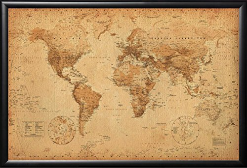 Framed Perfect For Push Pins World Map Vintage Poster in Real Wood Premium Matte Black Finish Crafted in USA