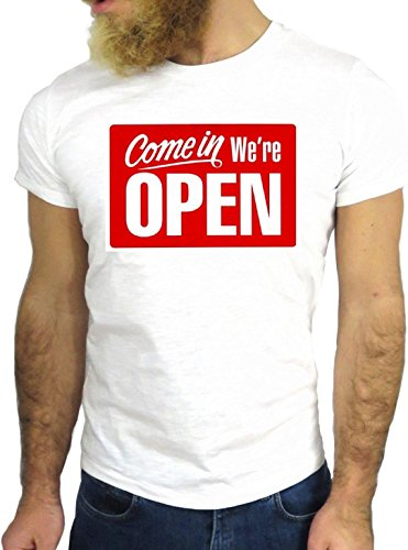 T SHIRT JODE Z1752 COME IN WE ARE OPEN STORE AMERICA FUNNY COOL FASHION NICE GGG24 BIANCA - WHITE M