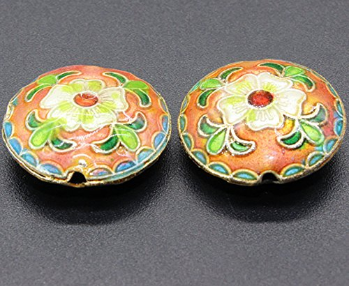 TIDOO Jewelry Chinese Ethnic Style Handmade Oval Enamel Cloisonne Beads for DIY Jewelry Making 2 PCS Flower Design Jewelry Accessories for Bracelet Chain (10# Pink)