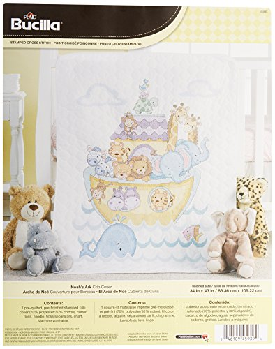 Bucilla Stamped Cross Stitch Crib Cover Kit, 34 by 43-Inch, 45939  Noah's Ark