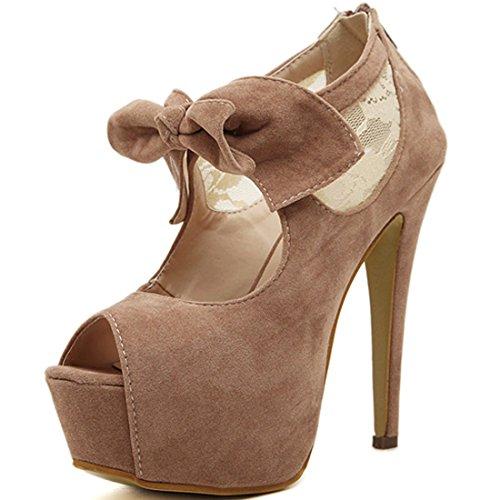 Oasap Mujer Zapatos Tacón Estilete de Plataforma Punta Abierta con Pajarita camello