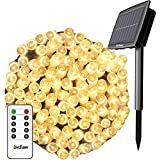 Solar String Lights Outdoor, Christmas Lights, 80Ft 200 LEDs with Remote 8 Lighting Modes Fairy Lights Waterproof Transparent Flexible Cord Perfect for Christmas Party Decor Garden Yard LawnWarm White