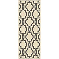 Custom Size Ivory Moroccan Trellis Rubber Backed Non-Slip Hallway Stair Runner Rug 22in X 16ft