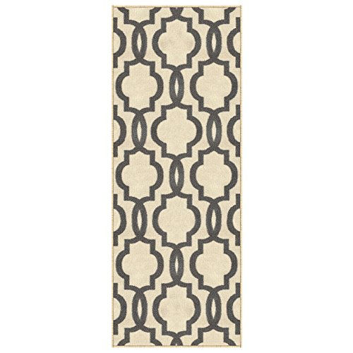 Kapaqua Custom Size Ivory Moroccan Trellis Rubber Backed Non-Slip Hallway Stair Runner Rug 22in X 15ft