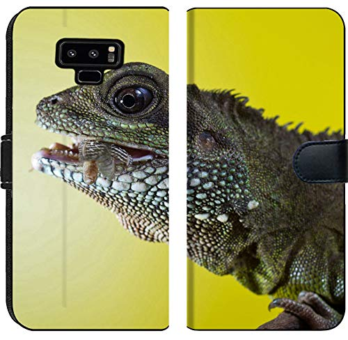 Liili Premium Samsung Galaxy Note9 Flip Micro Fabric Wallet Case Close up Portrait of Beautiful Water Dragon Lizard Reptile Eating an Insect Photo 19504434