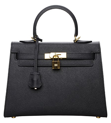 Cherish Kiss Women's Padlock Genuine Taiga Leather Top Handle Satchel Handbags Black(28CM, Black) by Cherish Kiss