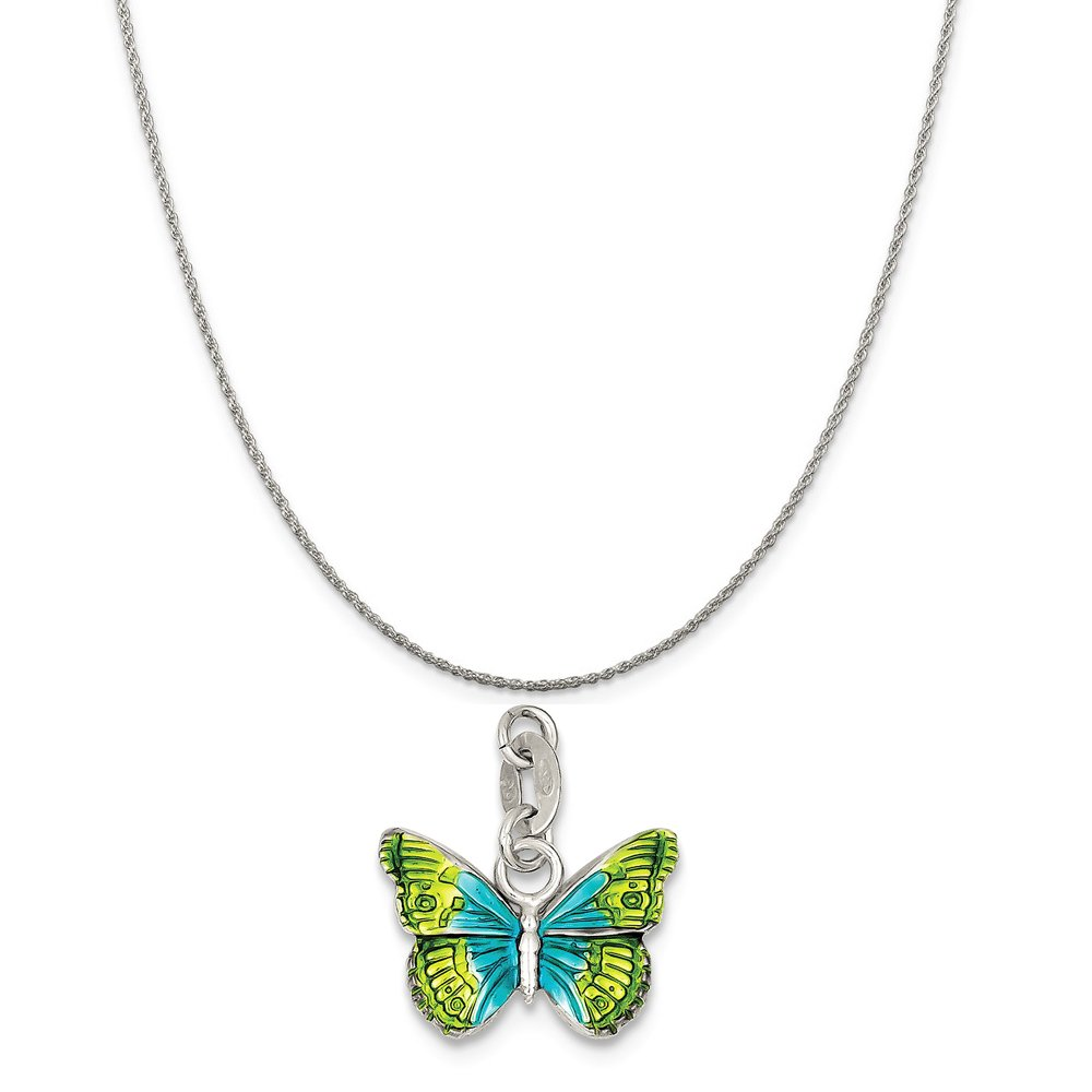 16-20 Mireval Sterling Silver Enameled Butterfly Charm on a Sterling Silver Chain Necklace