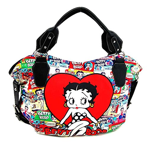 Betty Boop Red Heart Collection, Cartoon Collage Large Purse