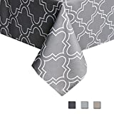 Eforcurtain Geometric White Quatrefoil Print Tablecloth Durable Waterproof Fabric Table Cover for Hotel, 52 Inch By 70 Inch, Charcoal