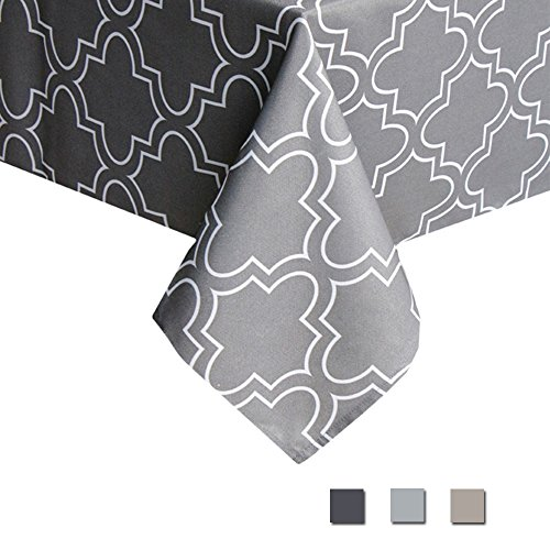 Eforcurtain 60 By 102 Inch Classic Quatrefoil Print Tablecloth Durable Water Proof Fabric Table Cover for Dining Room, Charcoal - Print Tablecloth