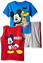 Disney Toddler Boys' 3 Piece Mickey Mouse Muscle Tank, T-Shirt and Short Set, Blue, 2t