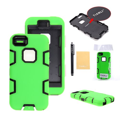 TIANLI(TM) Robot Armor Defender Case Combo For Apple iphone 5C+[Screen Protector]+[Free Stylus]+[Cleaning Cloth] Green Black B1