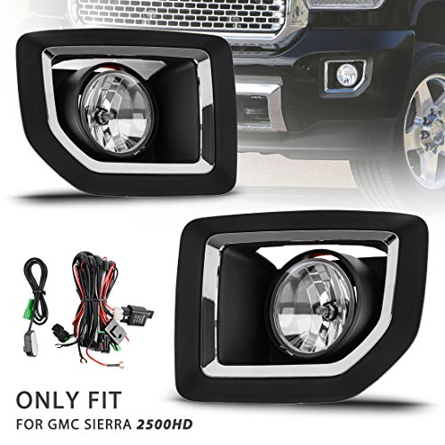 AUTOSAVER88 Chrome Fog Lights For GMC Sierra 2500HD 2015 2016 2017 (OE Style Clear Lens w/ Wiring Kit)