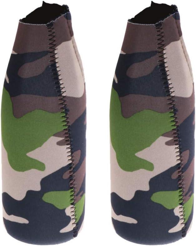 Camouflage avec Fermeture /à glissi/ère SUPAERCUPH 2pcs Isolant de Boisson en Bouteille en n/éopr/ène Pliable//Manchon de Support//Refroidisseur pour Boissons au Soda /à la bi/ère Cola