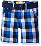 LEE Toddler Boys' Belted Plaid Woven Short, Royal, 4T
