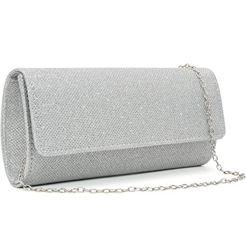 Milisente Evening Bag for Women Glitter Crossbody Shoulder Handbag Sparkly Clutch Bag Wedding Evening Purse (Silver)