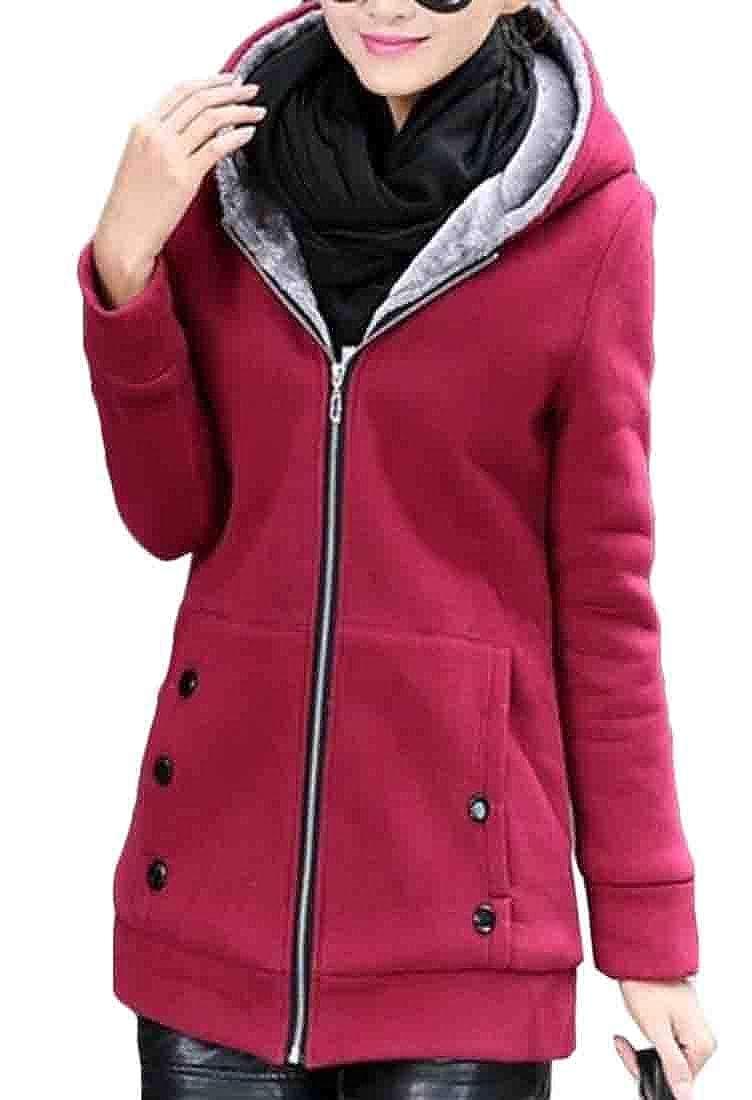 FRPE Women Thick Fleece Coat Plus Size Sherpa Lined Sweatshirts Hooded Tops