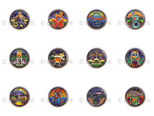 - SET OF 12 KNOBS - Zodiac Stained Glass-look - DECORATIVE Glossy CERAMIC Cupboard Cabinet PULLS Dresser Drawer KNOBS