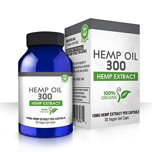 Hemp Oil Gel Capsules for Pain, Anxiety & Stress Relief - 300mg - 100% Organic Hemp Extract - Natural Anti-Inflammatory, Joint Support Helps with Better Sleep & Mood - Grown and Made in USA - 30 Caps