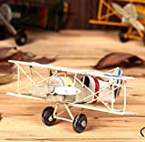Berry President® Vintage / Retro Wrought Iron Metal Propeller Airplane Plane Aircraft Handicraft Models -The Best Choice for Photo Props/christmas Gift/home Decor/ornament/souvenir Study Room Desktop Decoration (White)