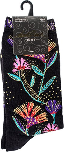 Laurel Burch Women's Lively Nature Crew, Black Wildflowers, 9-11