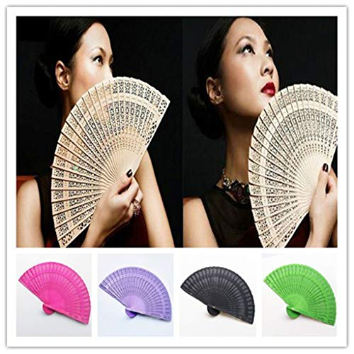 Luonita Chinese Sandalwood Fan,1/12 Pcs Hand Held Fans Silk Bamboo Folding Fans Handheld Folded Fan Gift for Women Girls Baby Shower Wedding Party DIY Decoration