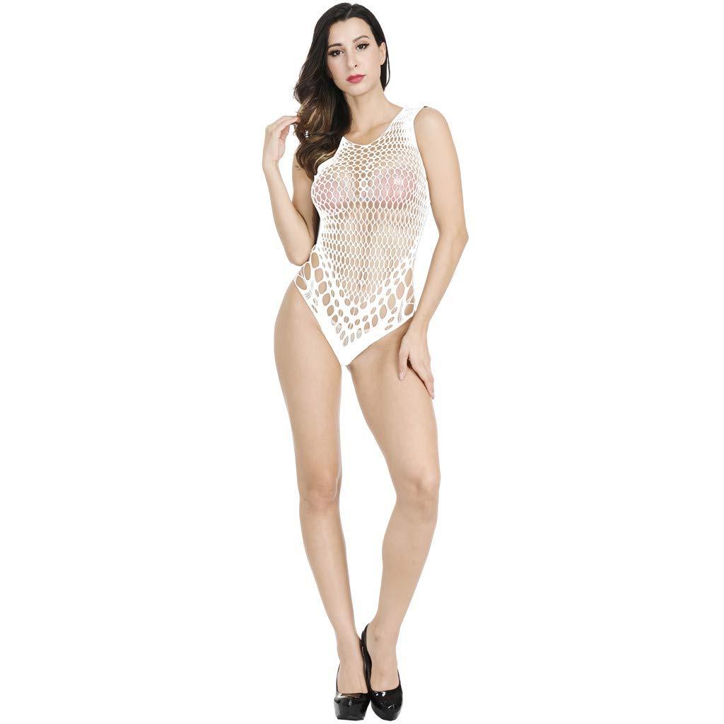 AxiBaWomen Fishnet Lingerie See Through Sleepwear One Piece V-Neck Babydoll Mini Dress(,White)