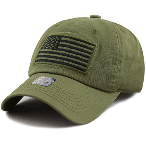 Pit Bull US Flag Patch Tactical Style Cotton Trucker Baseball Cap Hat Army Green Army Baseball Cap Hat