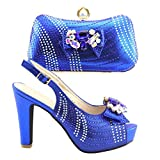 Shoe and Bag Set Decorated with Rhinestone Women Matching Shoe and Bag Set for Wedding Shoe Blue 41