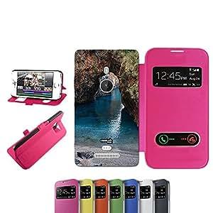 caselabdesigns Flip Carcasa Funda túnel natural Sea para Nokia Lumia 925Fucsia–Funda protectora plegable de rosa/fucsia