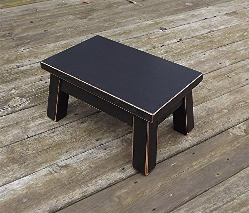 Black/ wooden step stool/ foot stool/ wood stool/ solid/ distressed riser 10