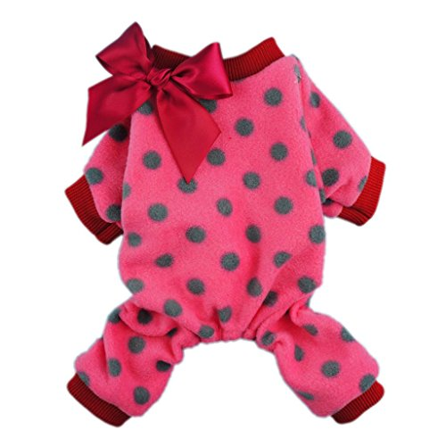 - Fitwarm Cute Ribbon Polka Dots Fleece Pet Dog Coats Pajamas Soft Pjs Winter Clothes, Small